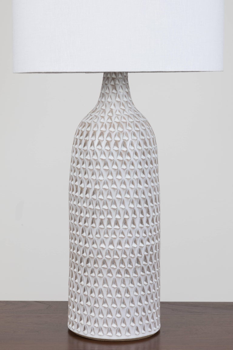 Contemporary Pair of XXL White Carved Bottle Lamps by Victoria Morris For Sale