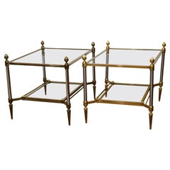 Pair of 20th Century Maison Jansen Brass & Chrome Two-Tier Side Tables