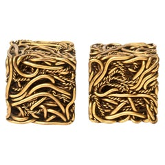 Pair of Yascal Bronze Twisted Square Cube Sculptures Signed Desk Accessory