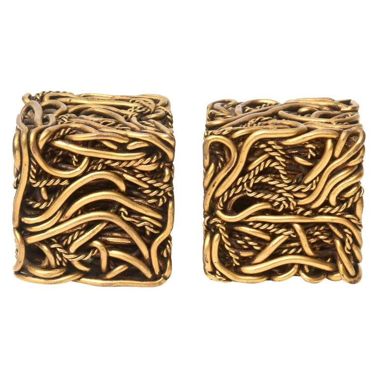 Pair of Yascal Bronze Twisted Square Cube Sculptures Signed For Sale
