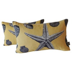 Pair of Yellow and Black Starfish Lumbar Decorative Pillows