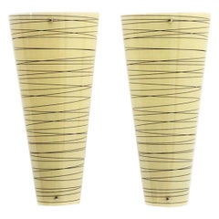 Pair of Yellow and Black Strips Glass Wall Lights, 1980s