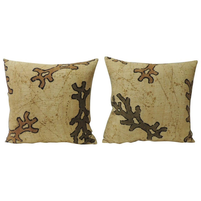 Pair of Yellow and Brown African Mud Cloth Decorative Pillows For Sale
