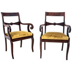 Pair of Yellow Antique Armchairs, Northern Europe, circa 1900, after Renovation