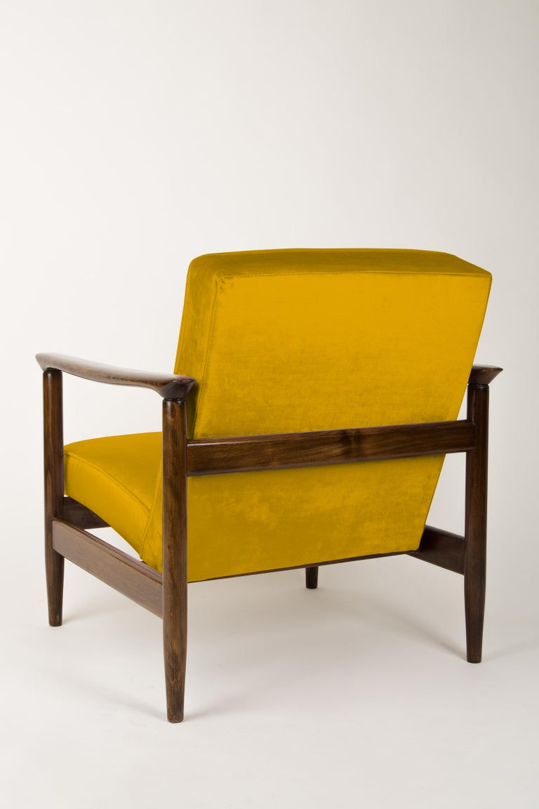 Textile Pair of Yellow Armchairs, Edmund Homa, GFM-142, 1960s, Poland For Sale