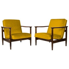 Pair of Yellow Armchairs, Edmund Homa, GFM-142, 1960s, Poland