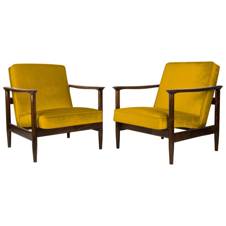 Pair of Yellow Armchairs, Edmund Homa, GFM-142, 1960s, Poland For Sale