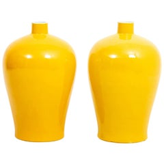 Pair of Yellow Bottle Neck Vases