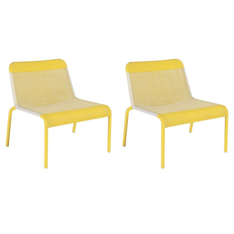 Pair of Yellow Braided Resin French Design and Lounge Armchairs