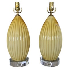Pair of Yellow Butterscotch Cased Murano Glass Table Lamps