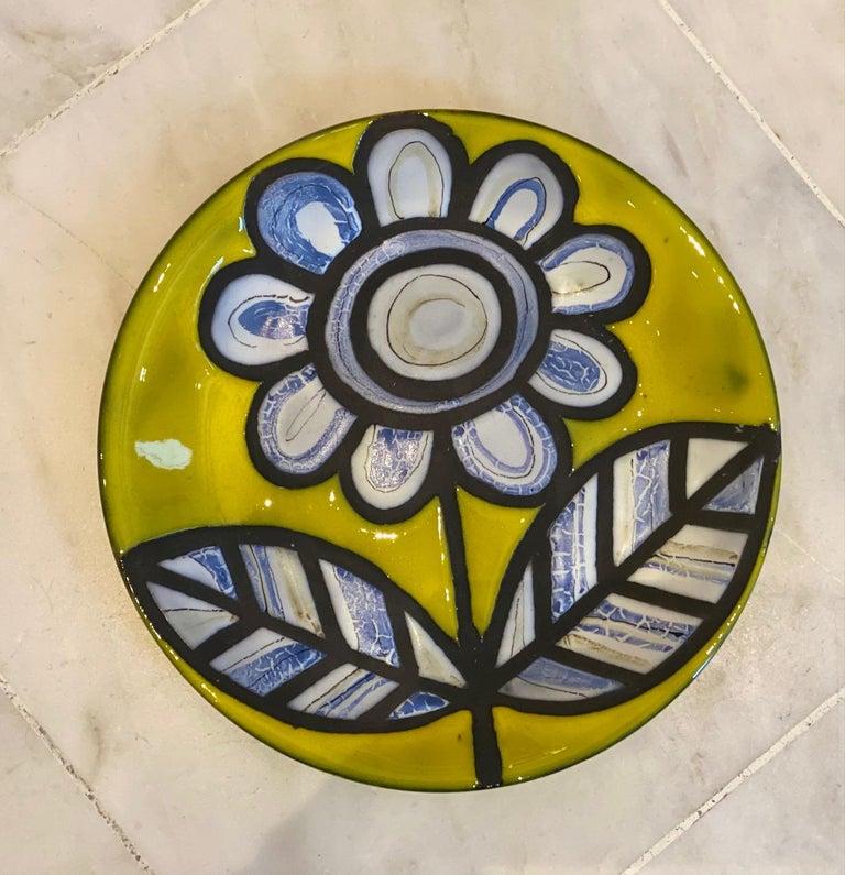 Pair of Yellow Ceramic Plates Signed Roger Capron Vallauris, 1958 In Good Condition In Paris, FR
