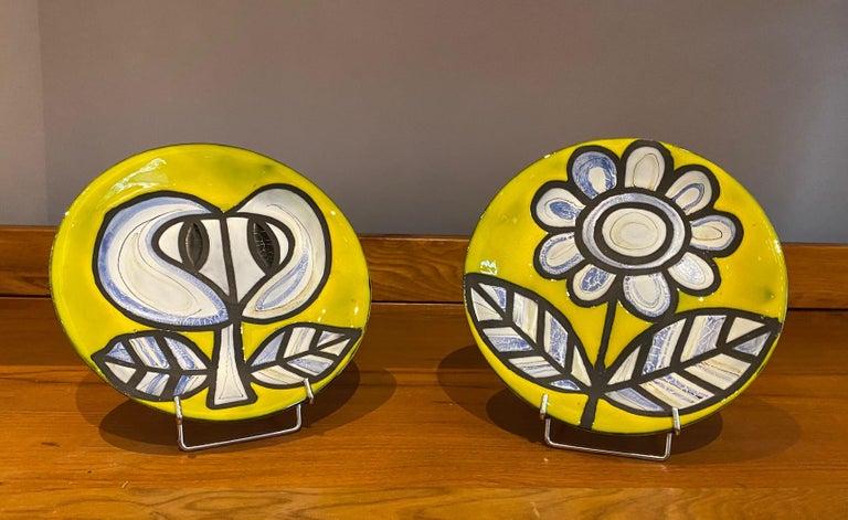 Pair of Yellow Ceramic Plates Signed Roger Capron Vallauris, 1958 1