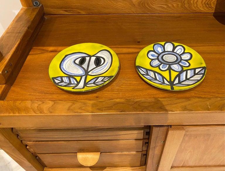 Pair of Yellow Ceramic Plates Signed Roger Capron Vallauris, 1958 2