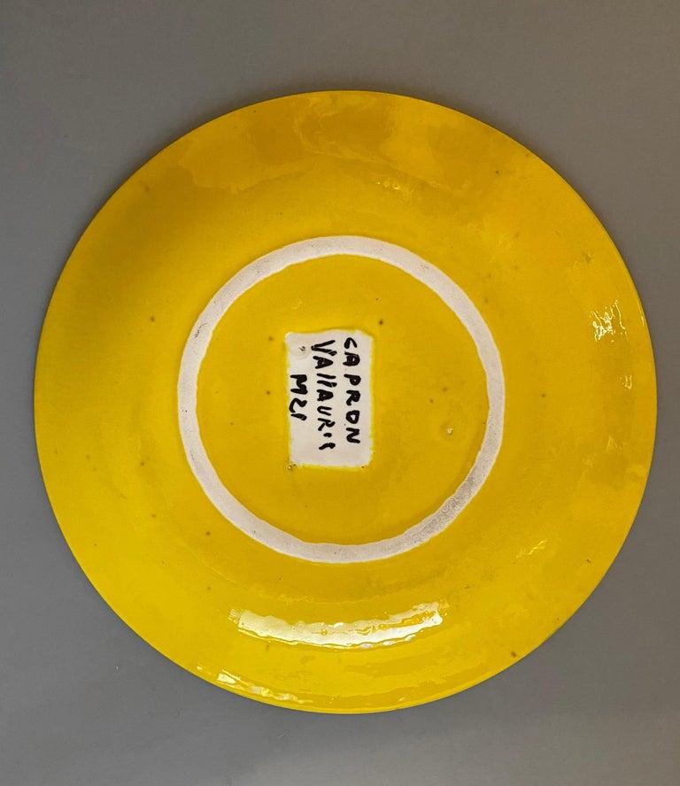 Pair of Yellow Ceramic Plates Signed Roger Capron Vallauris, 1958 3