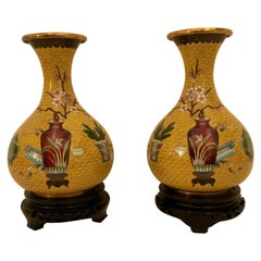 Pair of Yellow Chinese Cloisonné Vases with a Chinese Red Vase & Prunus Flowers