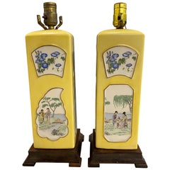 Pair of Yellow Chinese Porcelain Lamps with Traditional Raised Panels circa 1950