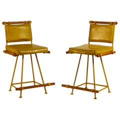 Pair of Yellow 'Los Feliz' Swiveling Counter Stools by Design Frères