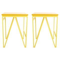 Pair of Steel and Wood Stools - Yellow Color Play Stools