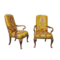Pair of Yellow Embroidered Silk Queen Ann Style Armchairs