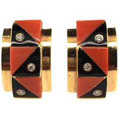 Pair of Yellow Gold, Coral, Black Onyx and Diamond Earrings