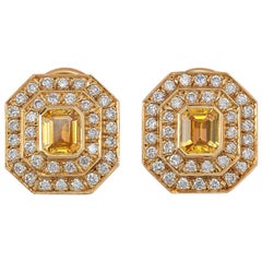 Pair of Yellow Gold Diamond and Yellow Sapphire Earrings