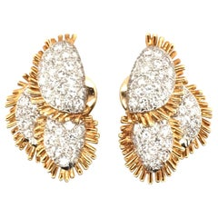 Pair of Yellow Gold, Platinum and Diamond Earrings
