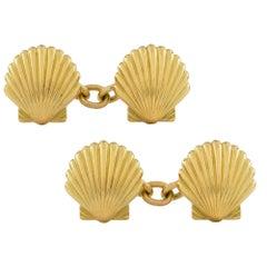 Pair of Yellow Gold Shell Cufflinks