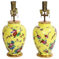 Pair of Yellow Ground German Porcelain Vases with Flower and Bird Decoration