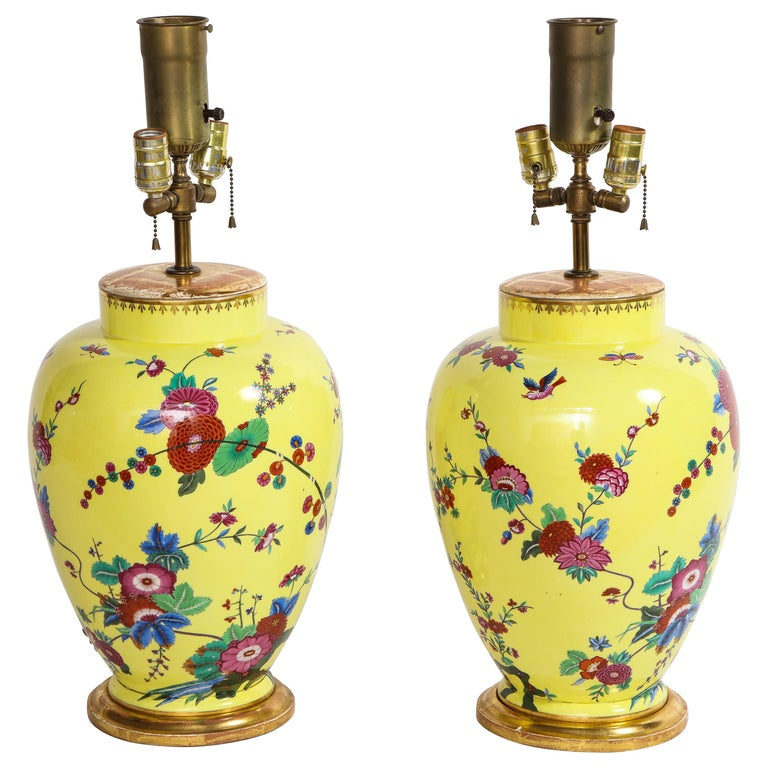Pair of Yellow Ground German Porcelain Vases with Flower and Bird Decoration For Sale