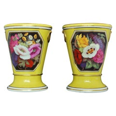 Pair of Yellow Ground Vases, Chamberlain Worcester, circa 1805