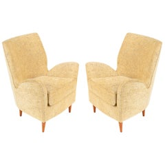 Pair of Yellow Italian Midcentury Style Lounge Chairs