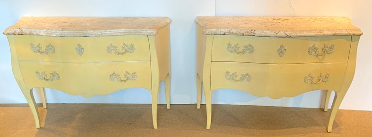 Pair of yellow lacquered commodes with coral stone, by Decorative Crafts, Each one with fantastic variegated natural coral stone tops, the lower case with a yellow/blue polychromed lacquer, with an upper 8