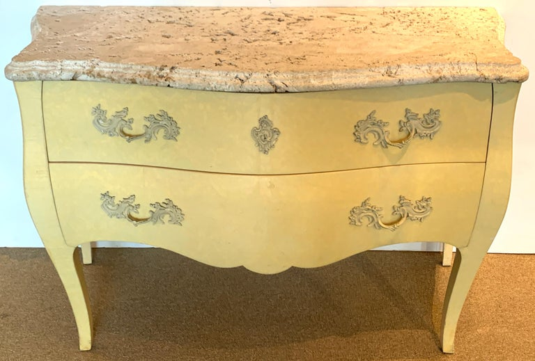 Italian Pair of Yellow Lacquered Commodes with Coral Stone, by Decorative Crafts For Sale
