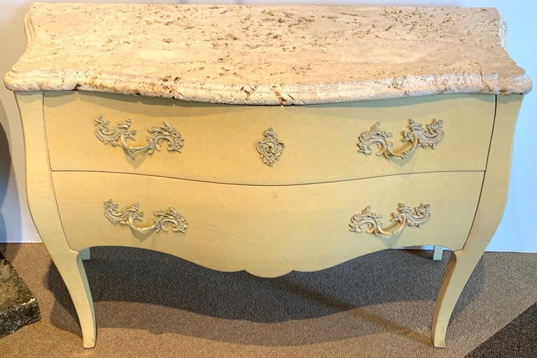Neoclassical Pair of Yellow Lacquered Commodes with Coral Stone, by Decorative Crafts For Sale