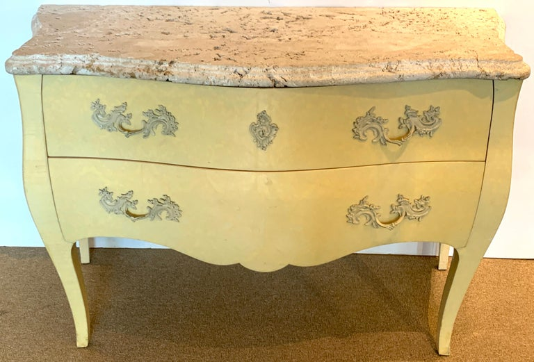 Pair of Yellow Lacquered Commodes with Coral Stone, by Decorative Crafts In Good Condition For Sale In Atlanta, GA