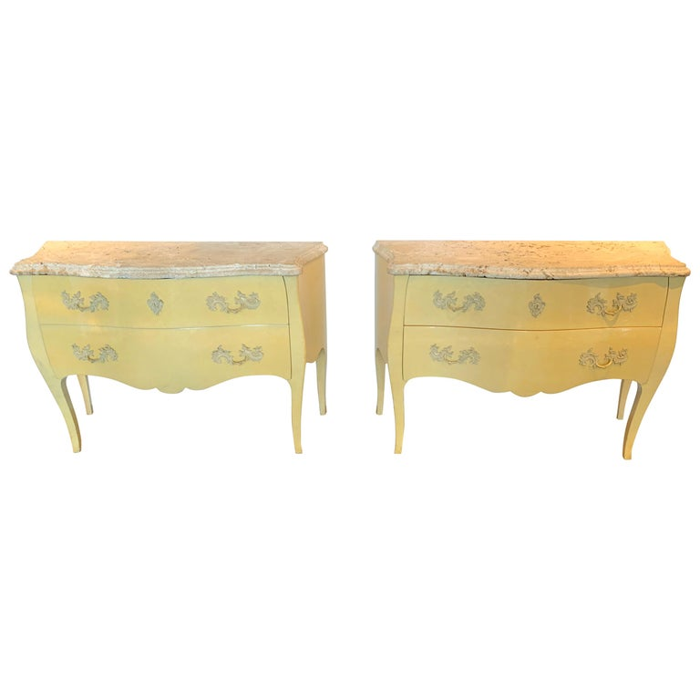 Pair of Yellow Lacquered Commodes with Coral Stone, by Decorative Crafts For Sale