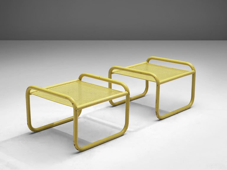 Gae Aulenti for Poltronova, 'Locus Solus' pair of stools, lacquered tubular steel, fabric and glass, Italy, 1964  Do you also love the movie La Piscine? You can bring its famous poolside furniture to your own garden. These seats are designed by