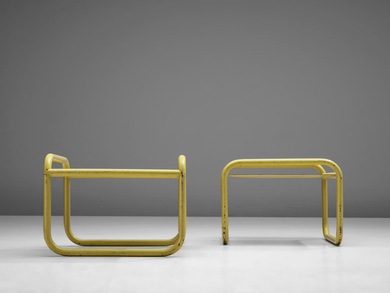 Mid-Century Modern Pair of Yellow 'Locus Solus' Stools by Gae Aulenti For Sale