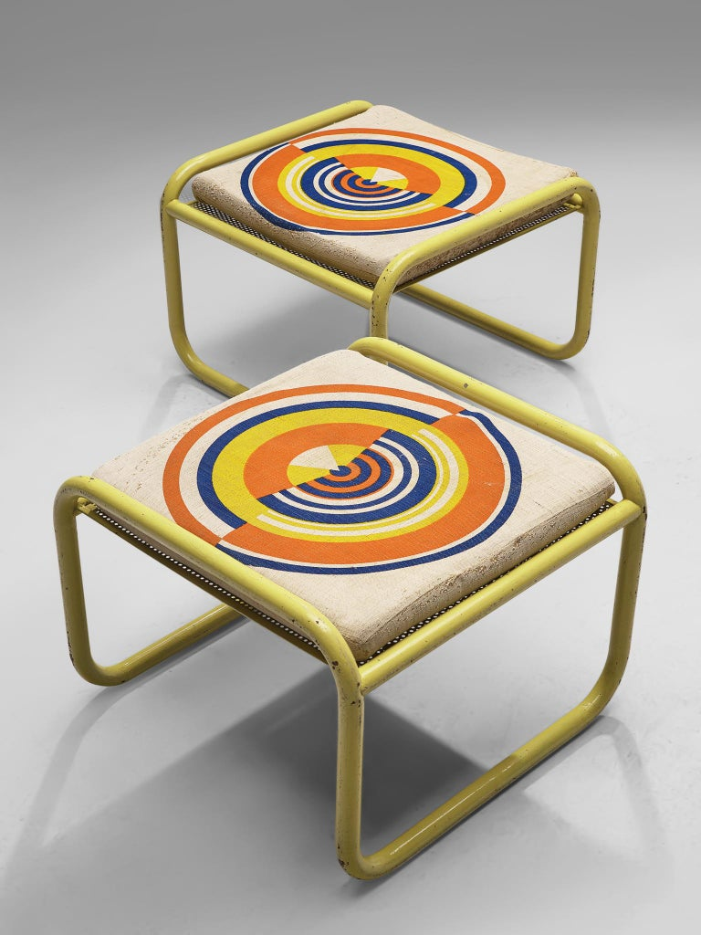 Steel Pair of Yellow 'Locus Solus' Stools by Gae Aulenti For Sale