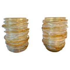 Pair of Yellow Murano Glass Vases by Cenedese, Signed