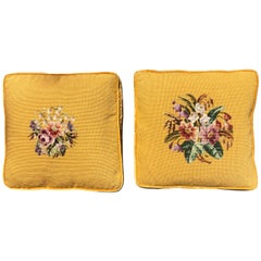 Pair of Yellow Needlepoint Embroidered Throw Pillows with Floral Motif