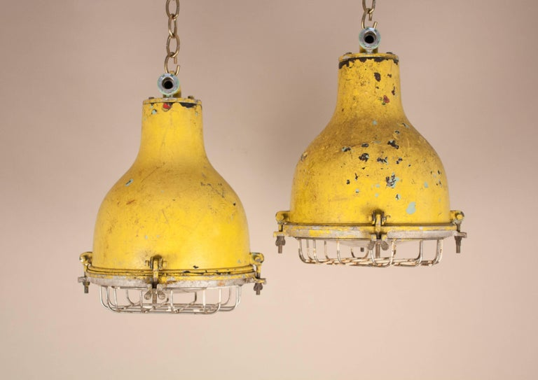 Pair of yellow painted brass and steel nautical pendant lights for industrial pair of yellow painted brass and steel nautical pendant lights for sale aloadofball Image collections