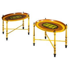 Pair of Yellow Painted Toleware Tray Tables