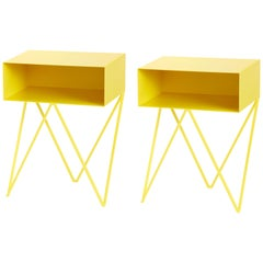 Pair of Yellow Powder Coated Steel Robot Bedside Tables