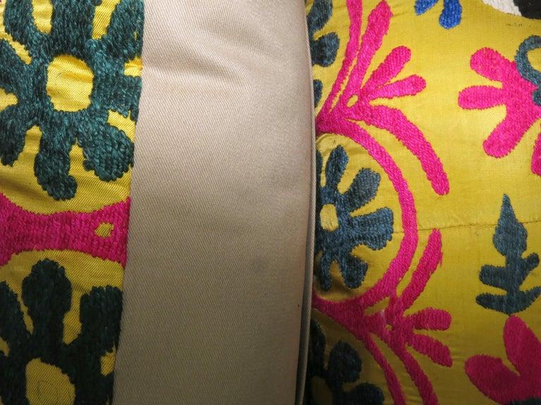 Uzbek Pair of Yellow Suzanni Textile Pillows For Sale