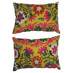 Pair of Yellow Suzanni Textile Pillows