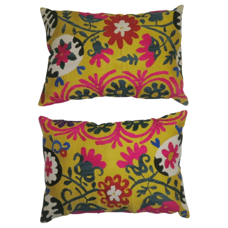 Pair of Yellow Suzanni Textile Pillows For Sale