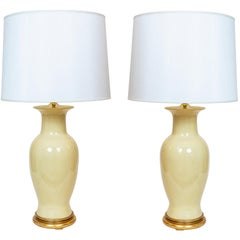 Pair of Yellow Vintage Urn Shaped Table Lamps