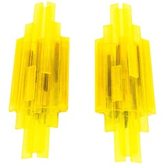 Pair of Yellow Wall Lamps by Claus Bolby for Cebo Industri, 1960s
