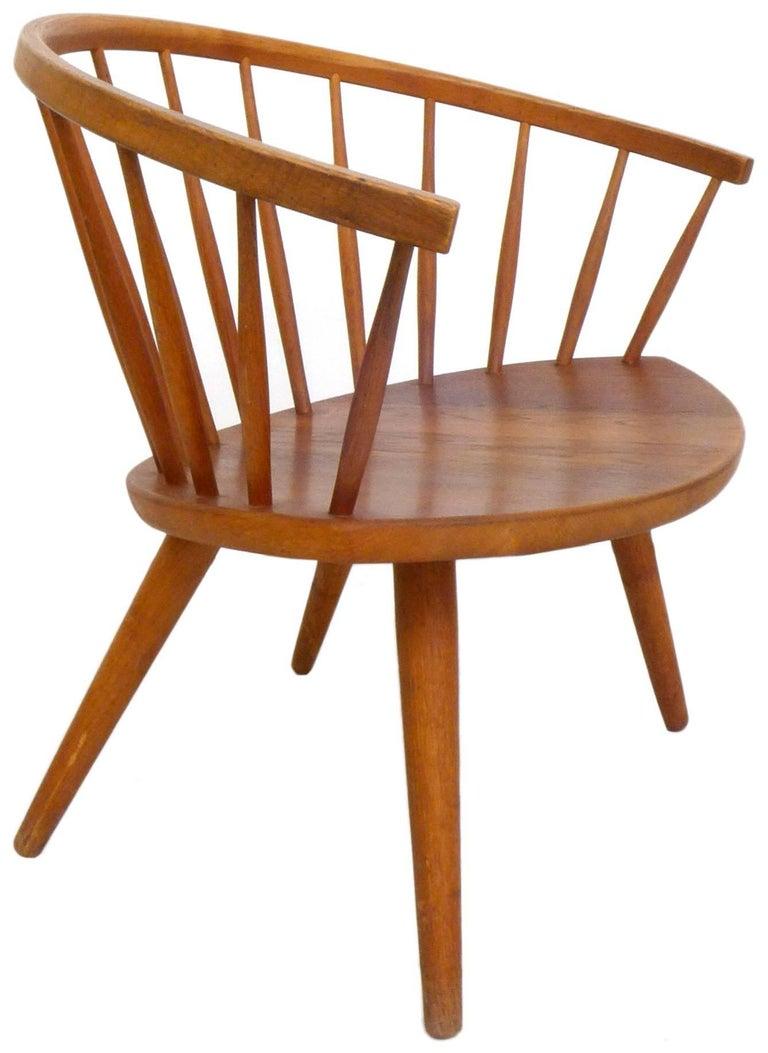 Oiled Pair of Yngve Ekström 'Arka' Lounge Chairs For Sale